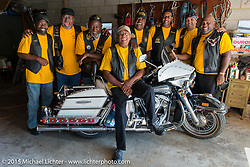 Visit with lifetime club member Jack Eldridge (sitting on Stanley Myers original 1973 Shovelhead) at his home. The Flying Eagles MC (founded 1950). Baltimore, MD, USA. August 16, 2015.  Photography ©2015 Michael Lichter.