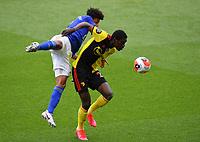 Football - 2019 / 2020 Premier League - Watford vs. Leicester City<br /> <br /> Watford's Ismaïla Sarr battles for possession with Leicester City's James Justin, at Vicarage Road.<br /> <br /> COLORSPORT/ASHLEY WESTERN