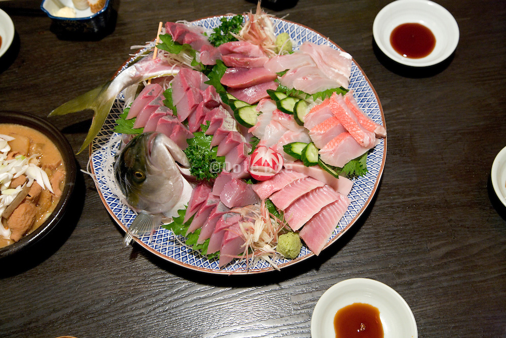 Traditional Japanese raw fish dish sashimi ikizukuri