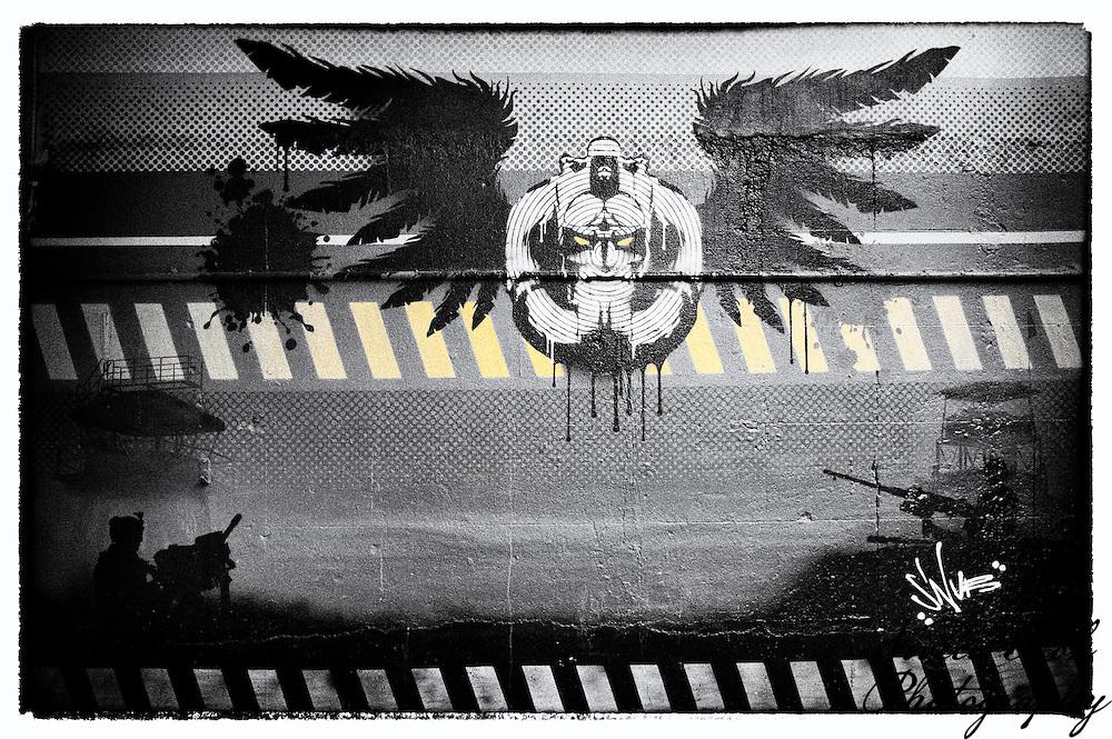 """Doombringer"" street art by Snub, Shoreditch, East London http://www.vivecakohphotography.co.uk/2011/04/13/more-east-london-street-art/"
