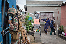 JOHANNESBURG, April 1, 2020  A soldier patrols in a community in Johannesburg, South Africa, March 31, 2020. South African President Cyril Ramaphosa on Monday defended the 21-day national lockdown against the coronavirus pandemic which began on midnight Thursday, saying it is ''absolutely necessary.'' (Photo by Yeshiel PanchiaXinhua) (Credit Image: © Xinhua via ZUMA Wire)