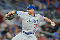 May 15, 2018 - Atlanta, GA, U.S. - ATLANTA, GA Ð MAY 15:  Cubs relief pitcher Mike Montgomery (38) delivers a pitch to the plate during the game between Atlanta and Chicago on May 15th, 2018 at SunTrust Park in Atlanta, GA. The Chicago Cubs defeated the Atlanta Braves by a score of 3 -2.  (Photo by Rich von Biberstein/Icon Sportswire) (Credit Image: © Rich Von Biberstein/Icon SMI via ZUMA Press)