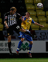 Photo: Steve Bond.<br /> Notts County v Hereford United. Coca Cola League 2. 02/10/2007.  Lawrie Dudfield (L) wins a header