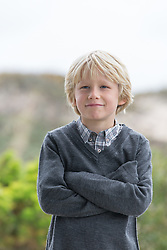 little blond boy on the beach