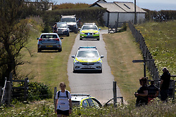 © Licensed to London News Pictures. 25/05/2020. Padstow, UK. Emergency services at the scene at Trevose Head, near Padstow, Cornwall where two people have died after getting in to trouble in water along the nearby coastline. Due to Coronavirus (COVID-19) there is currently no RNLI lifeguard service on the beaches in Cornwall, as there would be normally at this time of year. Emergency services including the Search and Rescue helicopter, Air Ambulance, paramedics, police, and coastguard were present at the scene. Photo credit : Tom Nicholson/LNP
