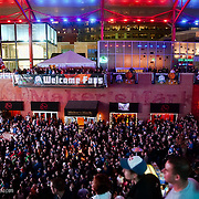 Celebrations at the Power and Light District after KU's tournament win for the Big 12 in March 2010.