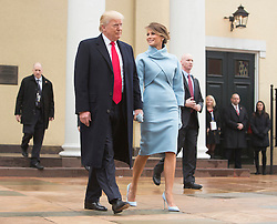 President-elect of The United States Donald J. Trump and First lady-elect Melania Trump depart St. John's Church in Washington, DC, shortly before he will be inaugurated as the 45th President of The United States, January 20, 2017. Credit: Chris Kleponis / EPA