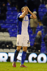 Birmingham City's Oliver Lee cuts a dejected figure after losing 0 - 2 to Yeovil Town - Photo mandatory by-line: Dougie Allward/JMP - Tel: Mobile: 07966 386802 18/01/2014 - SPORT - FOOTBALL - St Andrew's Stadium - Birmingham - Birmingham City v Yeovil Town - Sky Bet Championship