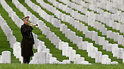 With a sea of tombstones of fallen heros, a bugler is seen playing 'Taps' at the funeral of Peter G. Enos at the Arlington National Cemetary. 24, of South Dartmouth, Mass.; assigned to 1st Battalion, 7th Field Artillery Regiment, 1st Infantry Division, in Schweinfurt, Germany; killed April 9 when a rocket-propelled grenade struck his patrol vehicle in Bayji, Iraq.