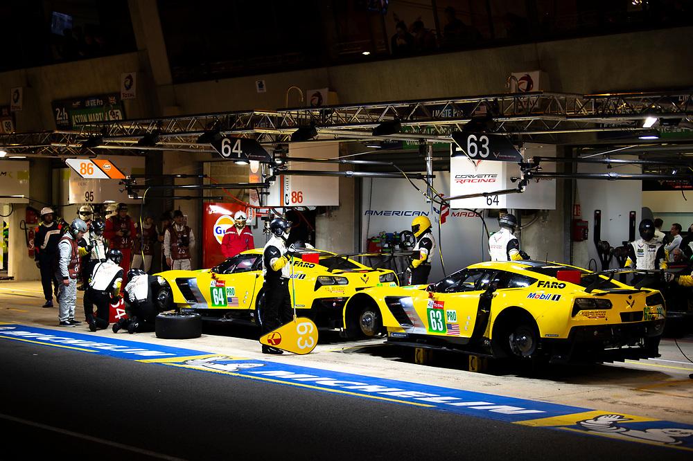 #64 Corvette Racing Chevrolet Corvette C7.R: Oliver Gavin, Tommy Milner, Marcel Fassler, #63 Corvette Racing Chevrolet Corvette C7.R: Jan Magnussen, Antonio Garcia, Mike Rockenfeller<br /> Thursday 14 June 2018<br /> 24 Hours of Le Mans<br /> 2018 24 Hours of Le Mans<br /> Circuit de la Sarthe  FR<br /> World Copyright: Scott R LePage