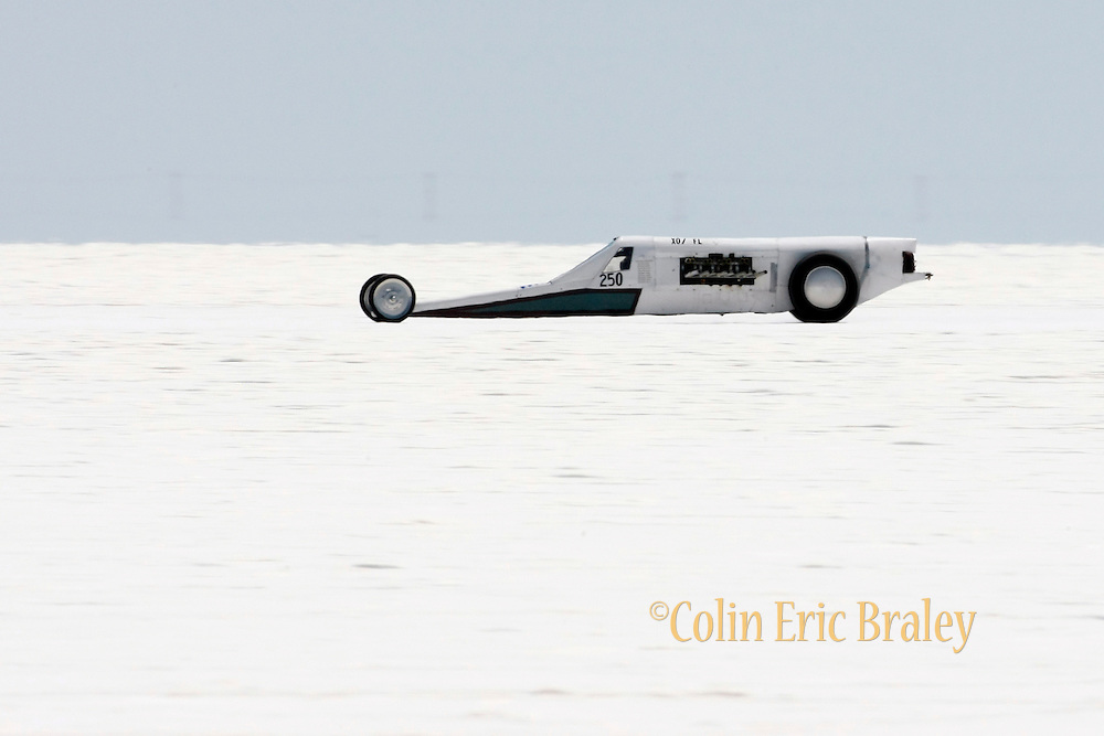 "Best-cars-people-atmosphere-photos of 2009 Bonneville Speed Week- Don Wheeler, owner and driver of the ""Salt Lick"" Lakester from  Parker, Colorado, makes a run at the Bonneville Speed Way. August 9, 2009.  Photo by Colin E. Braley"