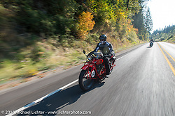 Jim Petty riding his 1927 Indian Chief during Stage 16 (142 miles) of the Motorcycle Cannonball Cross-Country Endurance Run, which on this day ran from Yakima to Tacoma, WA, USA. Sunday, September 21, 2014.  Photography ©2014 Michael Lichter.