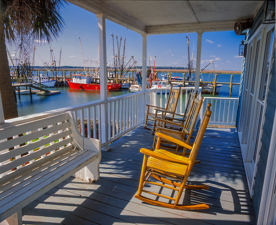 Porch Rockers at Dockside Restaurant, View Shrimp Boats, Port Royal, SC