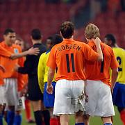 NLD/Amsterdam/20060301 - Voetbal, oefenwedstrijd Nederland - Ecuador, Dirk Kuyt en Arjen Robben