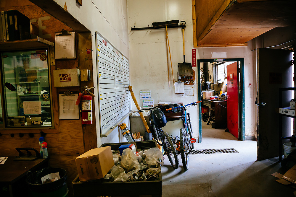 The shop of the Steven's Pass Resort where all of the employees ride mountain biking laps during their breaks in the summer months near Leavenworth, Washington.
