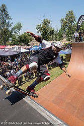 Legendary skateboarder Steve Caballero at Vans wall setup for pro skaters at the Born Free chopper show. Silverado, CA. USA. Saturday June 23, 2018. Photography ©2018 Michael Lichter.