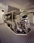 The 1,100-horsepower MTU main engine in its effectively soundproofed engine room of the sailing-yacht Hyperion.