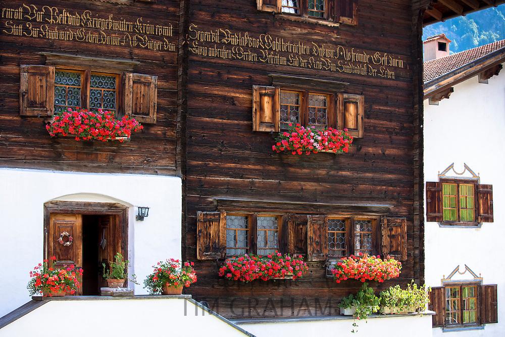 Traditional inscription on 18th Century Swiss house built 1741 in Serneus near Klosters, Graubunden region, Switzerland