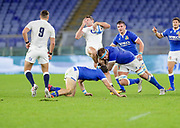 Jonny May (England) is tackled by Niccolo Cannone (Italy) during the Guinness Six Nations 2020, rugby union match between Italy and England on October 31, 2020 at the Stadio Olimpico in Rome, Italy - Photo Luigi Mariani / LM / ProSportsImages / DPPI
