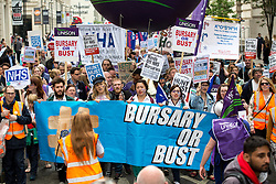 © Licensed to London News Pictures. 04/06/2016. London, UK. NHS Bursary Cuts Forum hold a demonstration in central London, marching against government cuts to the NHS bursary. Photo credit : Tom Nicholson/LNP