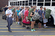 West Point, New York - Cadet candidates line up before getting on a bus at the United States Military Academy atWest Point during Reception Day on July 2, 2014. About 1,200 cadet candidates, the West Point Class of 2018, reported to the academy to begin their military careers.