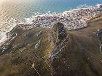 Aerial view of Signal Hill and hillside city, Cape Town, South Africa.