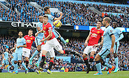 Paddy McNair of Manchester Utd gets a header towards goal - Barclays Premier League - Manchester City vs Manchester Utd - Etihad Stadium - Manchester - England - 2nd November 2014  - Picture David Klein/Sportimage