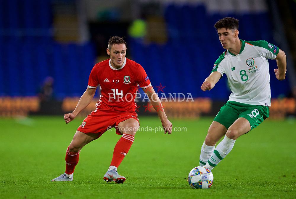 CARDIFF, WALES - Thursday, September 6, 2018: Wales' Connor Roberts and Republic of Ireland's Callum O'Dowda during the UEFA Nations League Group Stage League B Group 4 match between Wales and Republic of Ireland at the Cardiff City Stadium. (Pic by Paul Greenwood/Propaganda)