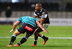 S'bu Sithole of the Sharks runs into Steph Roberts during the Currie Cup match between the The Sharks and The Griquas held at King's Park, Durban, South Africa on the 12th August 2016<br /> <br /> Photo by:   Anesh Debiky / Real Time Images