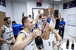 Goran Dragic of Slovenia,, Klemen Prepelic of Slovenia, Edo Muric of Slovenia, Ziga Dimec of Slovenia celebrating in a locker room after winning during the Final basketball match between National Teams  Slovenia and Serbia at Day 18 of the FIBA EuroBasket 2017 when Slovenia became European Champions 2017, at Sinan Erdem Dome in Istanbul, Turkey on September 17, 2017. Photo by Sportida
