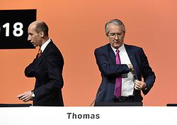 Germany, Bonn  -  April 13, 2018.Annual press conference of  Covestro AG  .Patrick Thomas and Thomas Toepfer (Credit Image: © Sepp Spiegel/Ropi via ZUMA Press)