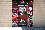 """Under Armour branded door wraps at Cedar Hill High School in Cedar Hill, Texas on August 24, 2016. """"CREDIT: Cooper Neill for The Wall Street Journal""""<br /> TX HS Football sponsorships"""