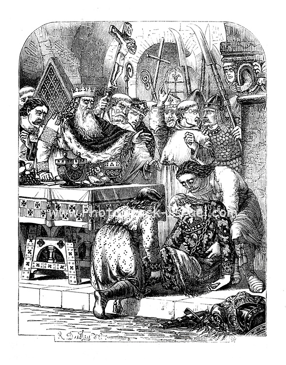 JUDGMENT OF GOD ON GODWIN [Godwin, Earl of Wessex] From the Book 'Danes, Saxons and Normans : or, Stories of our ancestors' by Edgar, J. G. (John George), 1834-1864 Published in London in 1863