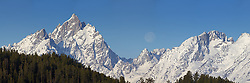 """Moon over Grand Tetons. This landscape is a 256 megabite 3X1 panorama and can be printed  18 inches X 54 inches at 300 DPI and or larger with less resolution.<br /> <br /> For production prints or stock photos click the Purchase Print/License Photo Button in upper Right; for Fine Art """"Custom Prints"""" contact Daryl - 208-709-3250 or dh@greater-yellowstone.com"""