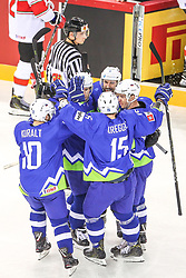 Anze Kuralt of Slovenia, Ales Music of Slovenia, Aleksandar Magovac of Slovenia, Blaz Gregorc of Slovenia, Ken Ograjensek of Slovenia celebrate after first goal of Slovenia during Ice Hockey match between National Teams of Hungary and Slovenia in Round #3 of 2018 IIHF Ice Hockey World Championship Division I Group A, on April 25, 2018 in Arena Laszla Pappa, Budapest, Hungary. Photo by David Balogh / Sportida