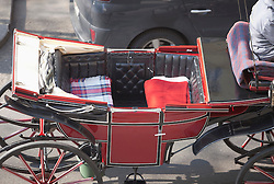 Horse drawn coach carriage red Vienna empty