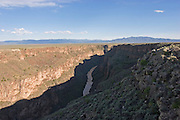 Horizontal of Rio Grande River in gorge, high view