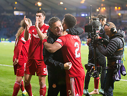 Aberdeen's Shay Logan with assistant manager Tony Docherty after the Betfred Cup semi final match at Hampden Park, Glasgow.