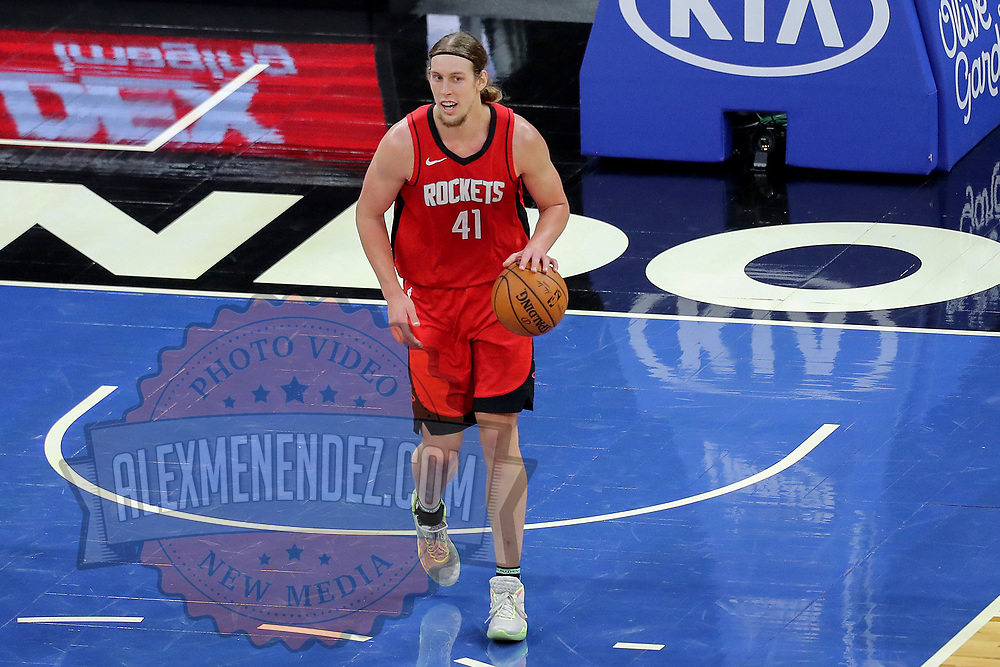 ORLANDO, FL - APRIL 18: Kelly Olynyk #41 of the Houston Rockets controls the ball against the Orlando Magic at Amway Center on April 18, 2021 in Orlando, Florida. NOTE TO USER: User expressly acknowledges and agrees that, by downloading and or using this photograph, User is consenting to the terms and conditions of the Getty Images License Agreement. (Photo by Alex Menendez/Getty Images)*** Local Caption *** Kelly Olynyk