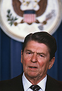 President Ronald Reagan in Briefing Room of the White House in May 1984<br />Photo by Dennis Brack