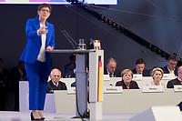22 NOV 2019, LEIPZIG/GERMANY:<br /> Wolfgang Schaeuble, CDU, Praesident des Deutschen Bundestages, Angela Merkel, CDU, Bundeskanzlerin, und Ursula von der Leyen, CDU, gewaehlte Praesidentin der Europaeischen Kommission (hinten v.L.n.R.), waehrend der Rede von Annegret Kramp-Karrenbauer (vorne), CDU Bundesvorsitzende und Bundesverteidigungsministerin, CDU Bundesparteitag, CCL Leipzig<br /> IMAGE: 20191122-01-070<br /> KEYWORDS: Parteitag, party congress