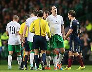 Disappointed John O'Shea of Ireland  - UEFA Euro 2016 Qualifier - Scotland vs Republic of Ireland - Celtic Park Stadium - Glasgow - Scotland - 14th November 2014  - Picture Simon Bellis/Sportimage
