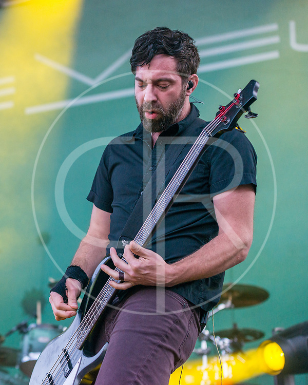 BALTIMORE United States - September 19, 2015: Dean Bernardini of Chevelle, performs at The Shindig, in Baltimore's historic Carroll Park