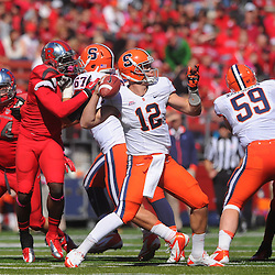 Oct 13, 2012: Syracuse Orange quarterback Ryan Nassib (12) passes from the pocket during NCAA Big East college football action between the Rutgers Scarlet Knights and Syracuse Orange at High Point Solutions Stadium in Piscataway, N.J.
