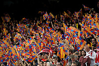 Barcelona´s supporters holding flags during 2014-15 Copa del Rey final match between Barcelona and Athletic de Bilbao at Camp Nou stadium in Barcelona, Spain. May 30, 2015. (ALTERPHOTOS/Victor Blanco)