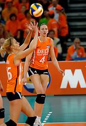 11-11-2007 VOLLEYBAL: PRE OKT: NEDERLAND - AZERBEIDZJAN: EINDHOVEN<br /> Nederland wint ook de de laatste wedstrijd. Azerbeidzjan verloor met 3-1 / Chaine Staelens en Debby Stam<br /> ©2007-WWW.FOTOHOOGENDOORN.NL