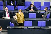11 FEB 2021, BERLIN/GERMANY:<br /> Peter Altmeier, CDU, Bundeswirtschaftsminister, Horst Seehofer, CSU, Bundesinnenminister, Angela Merkel, CDU, budneskanzlerin, Jens Spahn, CDU, Bundesgesundheitsminister, und Heiko Maas, SPD, Bundesaussenminister, (v.L.n.R.), im Gespraech, vor Beginn der Regierungserklaerung der Bundeskanzlerin zur Bewaeltigung der Corvid-19-Pandemie, Plenum, Reichstagsgebaeude, Deutscher Bundestag<br /> IMAGE: 20210211-01-011<br /> KEYWORDS: Corona, Gespräch, Mundschutz, Maske