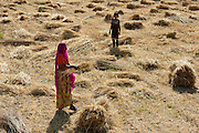 Female agricultural worker and child at Jaswant Garh in Rajasthan, Western India