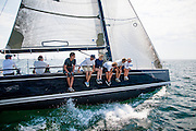 Everyone hit the rail of this Swan 42 at the start of a race offshore Brenton Reef in Newport, Rhode Island, as part of the well attended annual one design Newport Regatta.