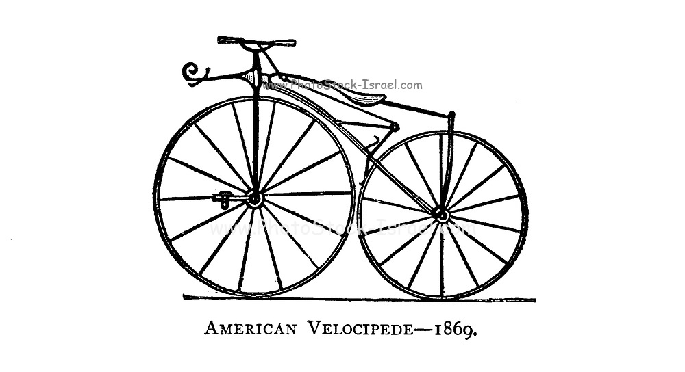 American Velocipede [Bicycle with pedals on the front wheel] 1866 From Wheels and Wheeling; An indispensable handbook for cyclists, with over two hundred illustrations by Porter, Luther Henry. Published in Boston in  1892